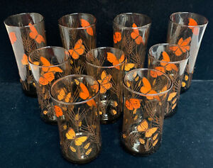 8 VTG Libbey Drinking Glasses Monarch Butterfly Wheat Pattern Amber Brown (UU)