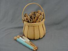 Split Ash Basket with 19 Antique Spinning Loom Thread Spools Industrial Wool
