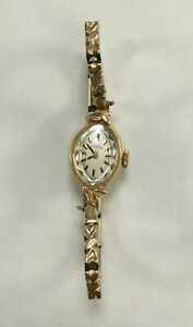 Croton vintage women's watch Gold 14K Swiss Made Leaf Face, Not working