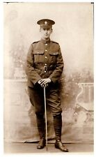Postcard WW1 Royal Army Service Corps RASC Soldier Swagger Stick Army RPPC 7a