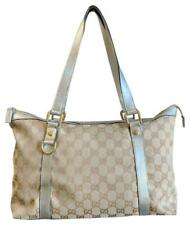 Authentic GUCCI GG Beige Silver Canvas Leather Medium Abbey Tote Bag 141470
