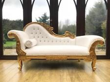 LEFT HAND  French Style Chaise Longue in Gold Leaf White Faux Leather Crystals