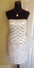 NEW SUE WONG IVORY WHITE BEADED SHORT FORMAL PARTY COCKTAIL EVENING DRESS 12