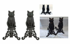 Cast Iron Wood Burning Cat Andirons with Glass Marble Eyes