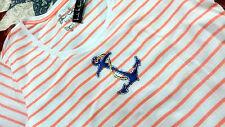 Girls Women Nicole Miller Embellished T Shirt Sz M Orange White Anchor design -