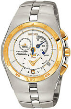 Seiko Arctura Kinetic Chronograph SNL012 SNL012P1 Mens White Dial 2 Tone Watch