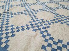 Vintage Hand Made Irish Chain Checkerboard Quilt Blue White 73x82
