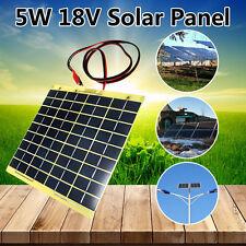 5W 12V Solar panel pannello solare Polysilicon Impianto 1m Wire & Battery Clips