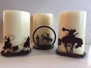 Rodeo Pillar Candle Holder, Bronco, Calf Roping, Rodeo Bronc