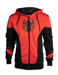 Spiderman Hoodie Red And Black Outfit new Official Marvel Mens Zipped