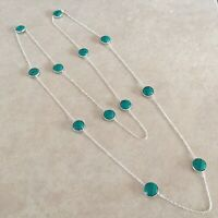 """NATURAL ROUD SANTA ROSA TURQUOISE 925 STERLING SILVER LONG CHAIN NECKLACE 36"""""""