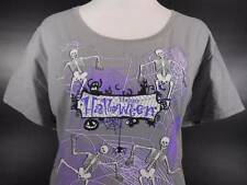 Cool Women's XL Halloween Skeleton & Cobwebs Gray Short Sleeve T-Shirt GUC
