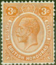 British Honduras 1933 3c Orange SG129 Fine Mtd Mint