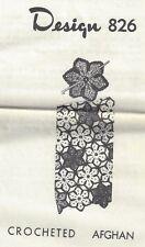 Crocheted Afghan Pattern (826) Vintage New (Flowers)