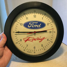 """Ford Racing Wall Garage Clock Black 9.75""""d - Battery Operated - Works Great!"""