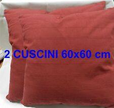 2 CUSCINI ARREDO 60x60 salotto divano casa BORDEAUX COMPLETI:Fodera+Imbottitura