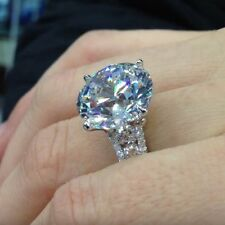 Near White 4.29 Ct Forever Round Moissanite 925 Sterling Silver Engagement Ring