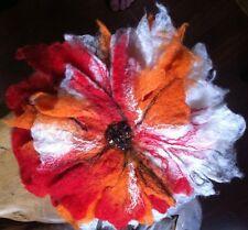 Triple Couche merino wool & silk feutre Bijoux Fleur Corsage énorme orange rouge