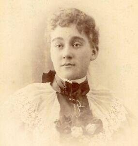 Portrait of a lady S P L Phillips Croydon cabinet card photograph antique #10
