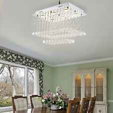 Crystal Glass Fixture Rainfall Chandeliers Stainless Steel Dining Room Light