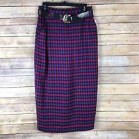 Briggs Women 14 Vintage 80s High Waist Belted Plaid Midi Skirt Wool Blend