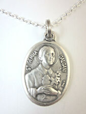 "St Gemma Galgani Medal Italy Pendant Necklace 20"" Chain Gift Box & Prayer Card"
