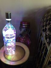 ~ NEW ~ *Bling Lights* FINLANDIA Vodka Empty LIQUOR BOTTLE Lamp Multi LEDs