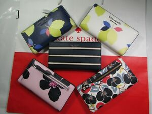 NWT Kate Spade Saffiano PVC Large Slim Bifold Wallet 5 Colors