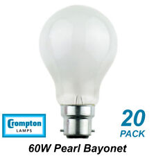 20 x 60W Pearl Light Globes / Bulbs B22 Bayonet Halogen Warm White Dimmable A60