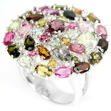 6.50ct Multi-Coloured Tourmaline Ring in 925 Sterling Silver - UK Size