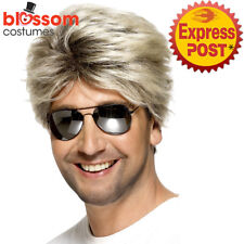 W516 80s Street Blonde Brown George Costume Wig Michael 1980s Wham Pop Star Rock