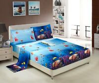 HIG 3D Sheet set -4 Pieces Wild Life Fishes And Beautiful Sea Printed Sheet Sets