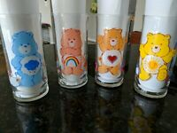 Vintage Care Bears Drinking Glasses 1983 Pizza Hut Collectible Set Of 4