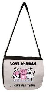 LOVE ANIMALS DON'T EAT THEM VEGETARIAN MESSENGER BAG - Vegan Animal Rights