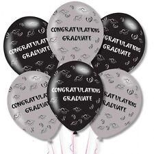 6 X Noir & Gris Graduation Ballons Félicitations Diplômé Ballons en Latex