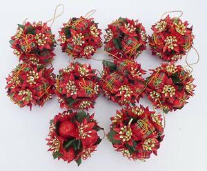 Set of Ten Vintage Christmas Tree Decorations - Red & Gold Tartan Baubles - VGC