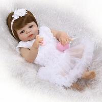 "23"" Full Body Silicone Vinyl Reborn baby Girls Doll Lifelike Newborn toys gift"