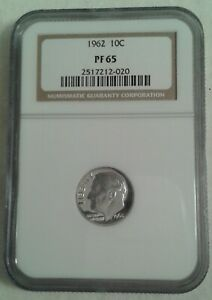 1962 NGC ROOSEVELT DIME PF65