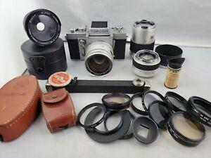 Topcon RE Super 35mm Camera Lot 1:1.4 50mm Lens, Auto-Topcor f/3.5 135mm, 58mm