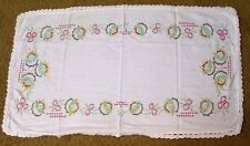 Vintage Table Runner Embroidered Yellow Green Brown Pansies Border