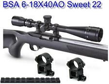 "BSA Sweet 22 6-18X40 Scope w-H.D. 7/8"" Weaver Base Rings & Ruger 10/22 Base Rail"