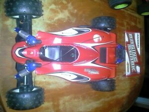 Vintage Toy Used R/C Part's Off Road Buggy w/Motor Chassis & 4 Wheels and Body.