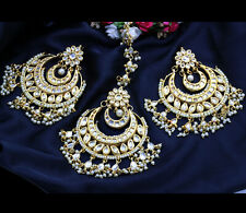 Indian Gold Tone Bridal Stylish Kundan Pearl Earring Maang Tikka Woman Jewelry