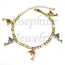 14k Gold Plated 3 Tone Lucky Dolphin Charms Versatile Figaro Chain Bracelet 8.5""