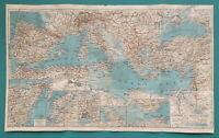 """1934 MAP 8.5 x 14.5"""" (21 x 36 cm) - MEDITERRANEAN SEA & Europe Countries"""
