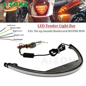 Rear Fender LED Brake Turn Signal Light Bar For Suzuki Boulevard M109R M90 06-up