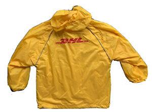 New DHL Workers Windbreaker Weather Jacket Mens Large Hood Cinch Waist Aramark