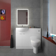 Bathroom Fitted Furniture 1000mm Yubo White Vanity Basin Unit with BTW Toilet