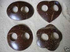 SET OF 4 NEW COCONUT SHELL SARONG BUCKLES TIE CLIP CLASP PAREO BROWN / sbset4