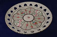 Vintage Decorative Trinket Porcelain Plate Colorful Flowers Heart Gold Accent #C